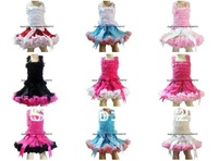 Children Baby Girls Ribbon Pettiskirt Sets Ruffle TUTU  Dress with Tops Dancing Dress Free Shipping 9deisgns 6size