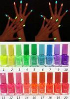 6pcs  New 20 Colors Fluorescent Neon Nail Art Polish Glow in Dark Nail Varnish  zj-8887 free shopping