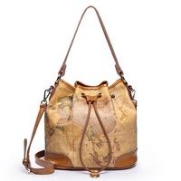 2014 High quality Vintage style Genuine leather  Shoulder bag women Handbag Travel bag Model No. 1170305 Free Shipping