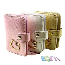 2012 New arrial /Hotsale+Free shipping+Hello Kitty card holder/Cartoon wallet/pink,black,white,gold/W10-42(China (Mainland))
