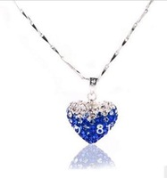 heart fashion crystal pendant with silver clasp