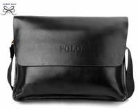2014 new  polo discount popular men's genuine leather bag  casual business cross body messenger bag man cool black shoulder bag