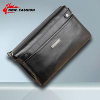 Hot High quality Fashion Black Double Layer Men Genuine Leather Handbag Casual Zipper Clutch Bag Wallet NO6078 Free shipping