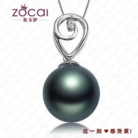ZOCAI BRAND INTOXICATION 9mm-10mm Tahitian BLACK PEARL Diamond Solid 18K WHITE GOLD PENDANT + 925 STERLING SILVER CHAIN Necklace