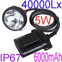 10pcs/Lot Free Shipping  2013 New Style KL6LM 5W 6000mAh LED Miner Headlamp Hunting Cap light 40000Lx  highlight Waterproof IP67