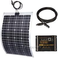 UK STOCK! 60W semi Flexible 12V solar panel full kit, regulator,cable, factory directly wholesale,fast ship