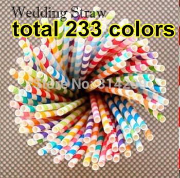 300pcs/lot, 233 Colorful Mix Striped & Polka Dot & Chevron & Floral Drinking Paper Straws