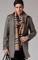 Freeshipping autumn gray light coffee man men male fashion fit slim liner wollen windbreaker trench coat  wind jacket  WM111512