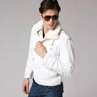 Freeshipping autumn winter black white man men male gentleman fit slim detachable collar and liner cotton jacket coat top WM700