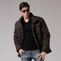 Freeshipping autumn winter black man men male gentleman Korean version thickened several pockets cotton jacket coat  WM5319
