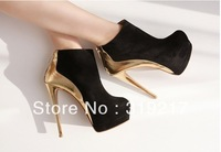 Hotting,Two Styles Spell Black With Gold Color High Heels Lady Ankle Boots Women Heel Shos Boot Free Shipping