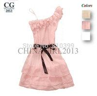 One Shoulder Off Applique Temperament Ruffles Floral Chiffon Mini Summer Dress Women's Party Evening Sexy Dress#CGD002