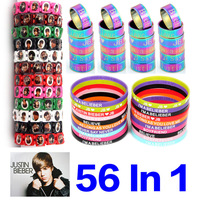 HOT SALE!!!  56 IN 1 Combined Justin Bieber 5mm Silicone Bracelet Stainless Steel band Wooden Wristbands Jewelry Free shipping