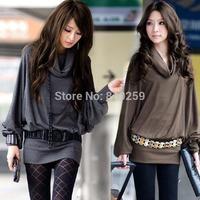 423 free shipping 2014 women new fashion gray khahi hip big turn-collar long design loose t shirts blouse ladies dress tops tees