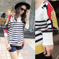 Sweet and Lovely Howl Pattern Sleeves Striped O-neck Sweater,Free Shipping