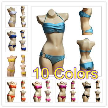 Горячая распродажа 2014 мода бренд для женщины сексуальное бикини с PAD горячие купальники купальники дамы пляжная одежда комплект бикини 10 цвет