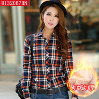 Free shipping 2014 Plus-size female plaid shirt women button down casual lapel add wool shirt plaids checks flannel shirt