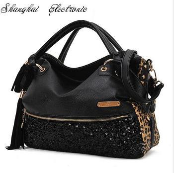 2015 New fashion casual leopard print bags one shoulder women's handbag leather handbag