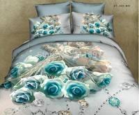 Romantic blue roses 3d comforter bedding sets queen size 4pcs princess bed linen duvet cover girl bedclothes cotton home textile