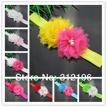 Free Shipping!24pcs/lot Baby Headband for Photography cute headband Shabby Frayed Chiffon Flower plus mesh Flower Headband