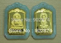 2pcs Grade A Jade Jadeite 24k Pure Gold Pendants Kuan Yin Kwanyin Guanyin Maitreya Buddha Charms decorations Mascot 004-1-3#