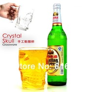 1 piece/lot Crystal Skull Beer Glass Mug,Crystal Skull Head Glass Cup,Free Shipping