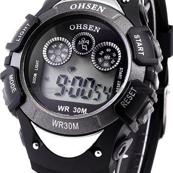 OHSEN Digital LCD 7 Color LED Backlight Date Alarm Stopwatch Rubber Band Men's Black Sport Wrist Children Digital Watch / OHS044
