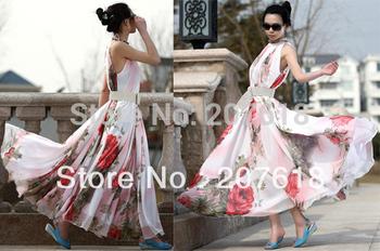 Summer Fashion Women's Vest Chiffon Dress Ruffle Print Beach Party Dresses Bohemian Maxi Long Dress