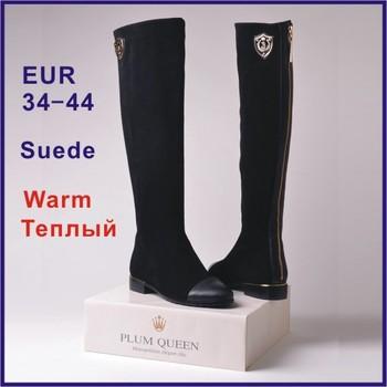 Верх quality Женщиныs Winter Boots Натуральная кожа Shoes Knee-Длина Boots Sexy ...