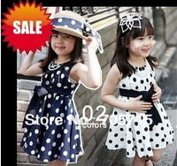 Retail Free shipping polka girl belt & bowknot dress,children dresses,baby dresses