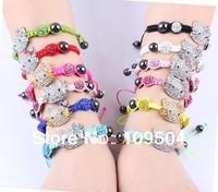 Children Hello Kitty Shamballa Bracelet Kids Child Crystal Disco Ball Beads Kitty Cat Bracelet Bangle Children Jewelry