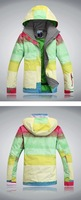 free shipping 2013 New womens waterproof colorful big grid snowboard jacket ladies funtional ski jacket girls ski tops skiwear