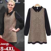 Desigual Free Shipping 2014 Brand Women Autumn Winter Elegant Long Sleeve Peter Pan Collar plus size dress 4xl JB121445