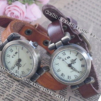New vintage Genuine Cow leather fashion Wrap women watch ladies wrist watch,Free Shipping