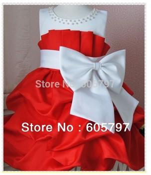 In Stock 2015 NEW Korea Red Ball Gown Scoop Neck Beaded Children Flower Girls Dress High-Grade Princess Big Bow Knot Dresses