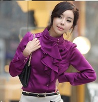 Free Shipping Hot sell Wholesale crepe shirt / women's shirt/ lady's shirt Blouse 5 colors white, purple,Blue,khaki,Wine