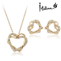 PDRS-ht001# Valentine's Day Gift 18k Gold plated  Jewelry Set Include One Piece Necklace & One Pairs Earrings