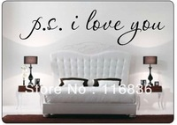 Free Shipping:Promotion PS I Love You Vinyl wall quotes stickers sayings home art decal Size:15x60cm/piece