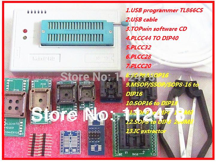 Free shipping 2014 New! Russian & English Software V6.0 MiniPro TL866CS BIOS USB Universal Programmer support 13143 +10items(China (Mainland))