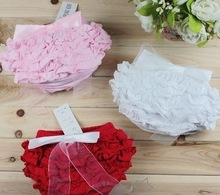 Baby PP skirt / Baby girl ruffle laced skirt with bowknot/ Infant dress /Three color: red ,pink & white(China (Mainland))