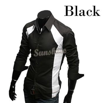 2 Colors White Black  Men's  Leisure Wear Casual Luxury Stylish Slim Long Sleeve Dress Shirts #005 3403