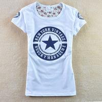 Free Shipping 21 color summer dress new 2015 t shirt women   spring women's letter pentastar 100% cotton short-sleeve T-shirt