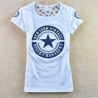 Free Shipping 21 color  2013 new   t shirt women   spring women's letter pentastar 100% cotton o-neck short-sleeve T-shirt 1009