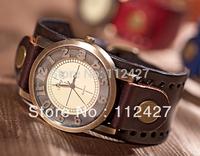 2015 Men wristwatches Fashion Cow leather Quartz watches Vintage watch Unisex military Watches for men  6 color  JP022