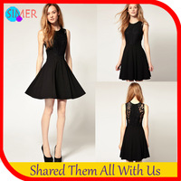 2013 Best Seller Women's Black Lace And Cotton Patchwork Dress Knee-Length Sleeveless O-Neck Casual Dress