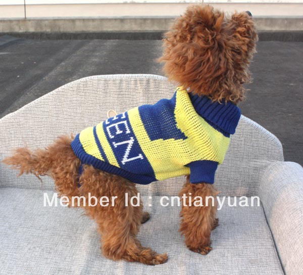 Dog Clothes Pet Dog Warm High quality Turtle Neck Crown Queen Yellow Sweater Size S/M/L/XL/XXL(China (Mainland))