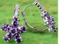 wholesale  AAA Zircon Amethyst & White Topaz  Dangle Hook Silver    Earring free shipping