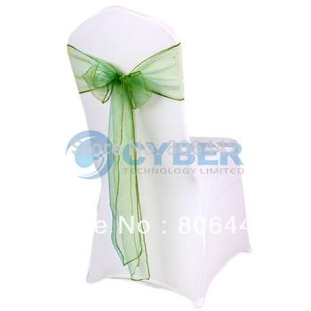 "25Pcs/Lot Wedding Organza 7.0"" x 107.3"" Organza Chair Cover Sashes Bow Sash Wedding Banquet Party Decoration  9226"