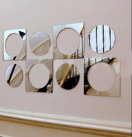 FREE SHPPING Mirror wall stickers sofa tv decoration stickers mirror wall stickers home decor  8pcs Decorative gift P042
