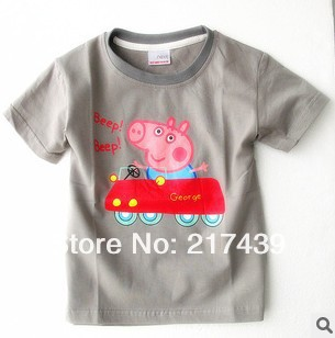 Free shipping Peppa George Pig driving a car short sleeved cotton grey boy T shirt top LAST 15 PIECES ONLY